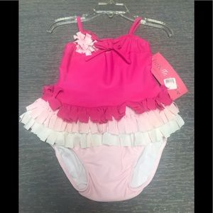 "Pink ""Boutique"" 2 Pc Fringed tankini swimsuit NWT"
